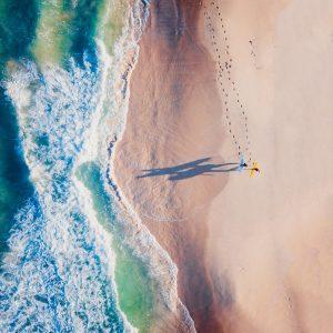 Drone photo surfers